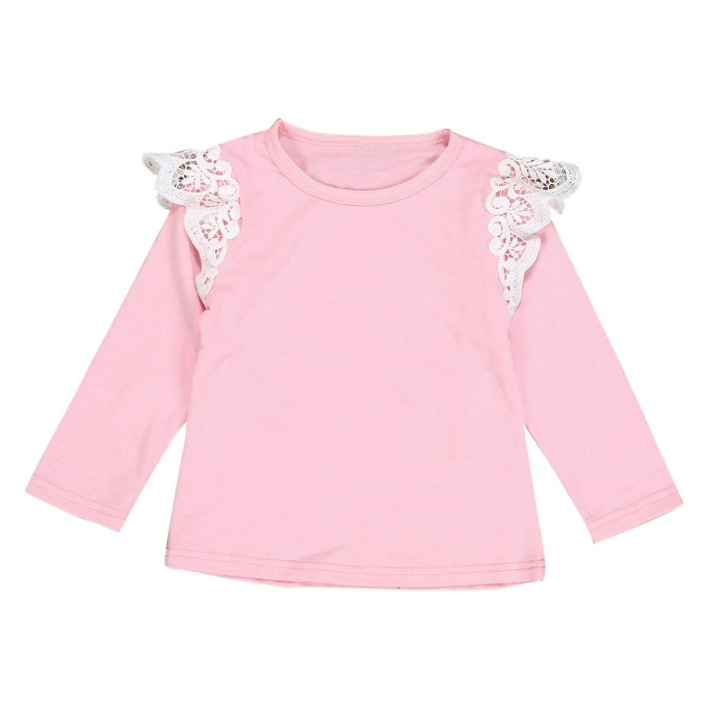 Kingko® 2017 New Fashion T Shirt 0-24 Months Baby Girls Lace Flying Long Sleeves T-shirt Tops Tee Blouse Clothes Outfits