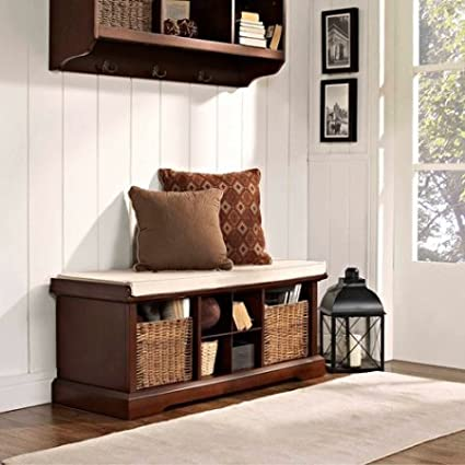 Ordinaire Entryway Storage Wood Bench With Full Size Cushion, Cubbies, 2 Wicker  Baskets, Storage