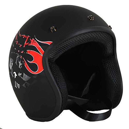 PGR B70 Retro DARE Devil Black Motorcycle Open Face Bobber Chopper Rackus DOT Helmet Bell Biltwell (XXLarge, Matte Black)