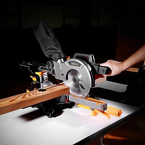 Mitre Saw, TACKLIFE, 1500W 4500RPM Sliding Mitre Saw, 300mm Slide, Laser Guide, 45° Bevel, 45°Versatility Mitre, 24T 210mm Blade, 200mm Extension Bars, Dust Bag,Cut Wood & Plastic - PMS01X