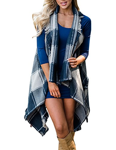 89a9b8005c Sibylla Womens Casual Sleeveless Tassel Drap Open Front Plaid Kimono  Cardigans Coat Outwear Vest with Asymmetric
