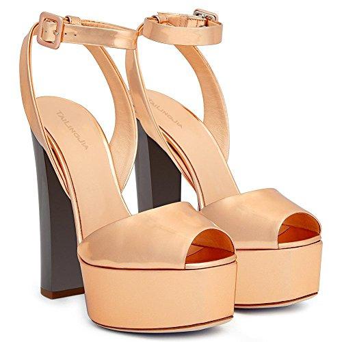 L@YC Frauen Heels Spring Peep Toes PU Neue Kunstleder Hochzeit/Party/Sandalen/Rough mit Gold