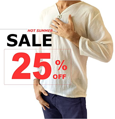V-neck Top T-shirt - Pattaya Fashion : Men's White T-Shirt 100% Cotton Hippie Shirt V-Neck Beach Yoga Top (2XL)