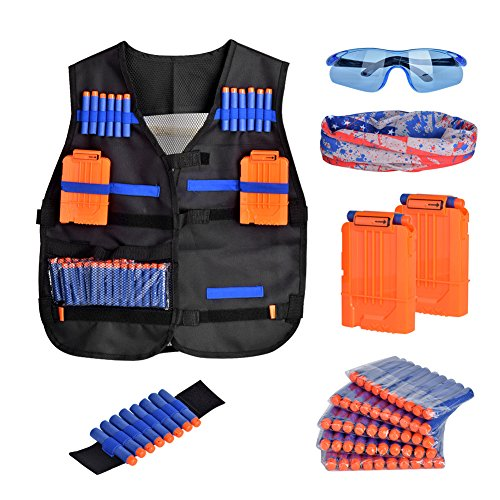 Senrob Tactical Vest Kit  Kids Elite Tactical Vest Kit For Nerf Gun N Strike Elite Series With 1 Thick Black Tactical Vest 50Pcs Foam Bullets 2Pcs 6 Dart Reload Clips 1 Protective Glasses 1Hand Wrist