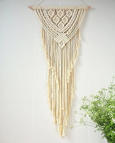 Rustic Macrame Wall Hanging Cotton Handmade Modern Wall Art Home Decor 16''WX43''L by Vesna Wall Art (Image #1)