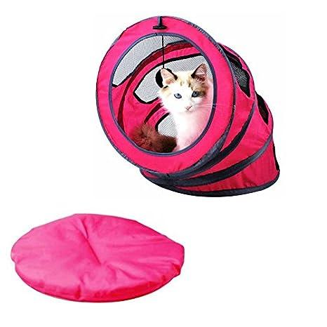 Gato túnel tienda de campaña, tierra segura portátil plegable espiral mascotas cama casa transpirable suave gatos cama para interior al aire libre verano ...