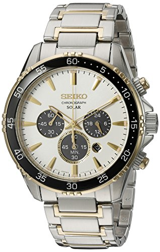 White Gold Panda - Seiko Men's 'Chronograph' Quartz Stainless Steel Dress Watch (Model: SSC446)