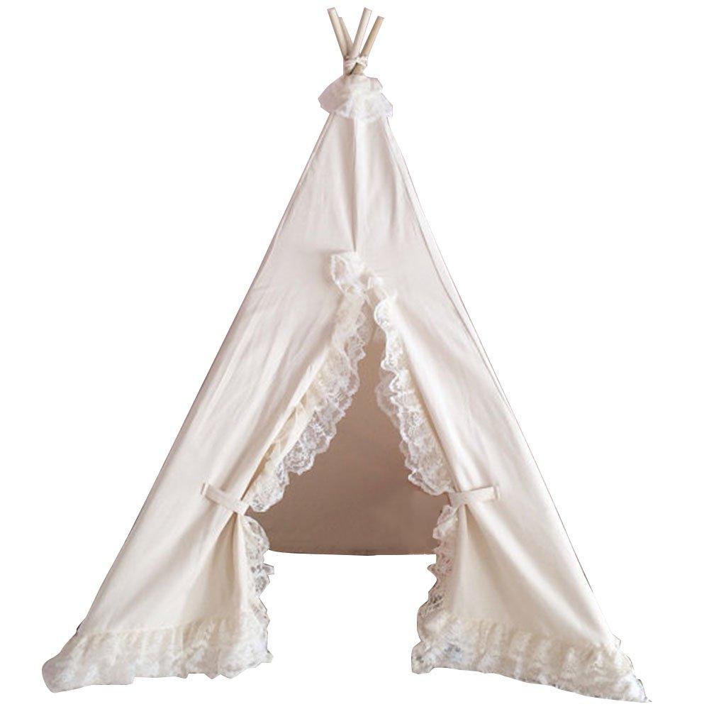 ZYH おもちゃルームテント、レースエッジデザイン屋内ゲームハウス子供の部屋の装飾テント誕生日プレゼント110 * 110 * 160CM 広いスペース (サイズ さいず : 110 * 110 * 160CM)   B07H3L7T9R