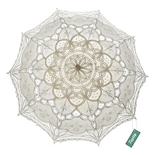 TopTie Wedding Lace Parasol Umbrella Victorian Lady Costume Accessory Photo Prop-Beige-12 pcs by TopTie
