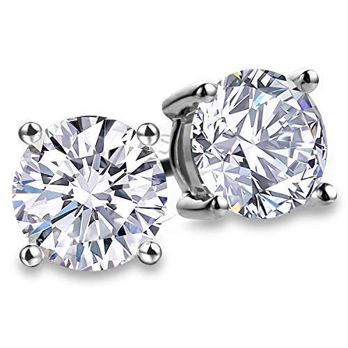 Fashion S925 Sterling Silver Cubic Zirconia Stud Earrings For Women 4 Prong Sparkling Round Pure Brilliance CZ Stud Earrings with Large Earring Back