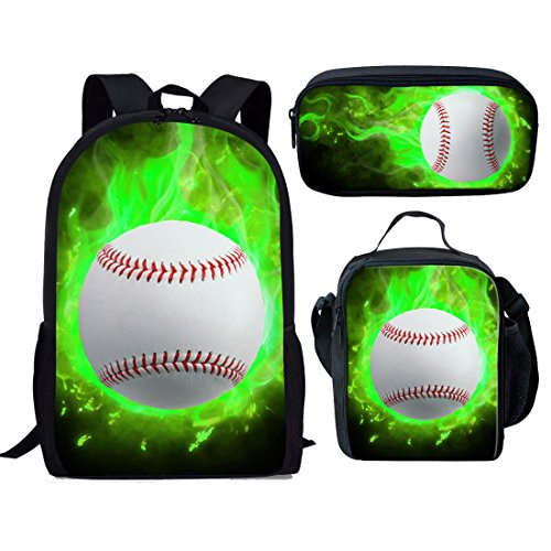 Showudesigns 3PCS/Sets of Schoolbag with Backpack Small Lunch Box Pencil Case for Kids Baseball ()