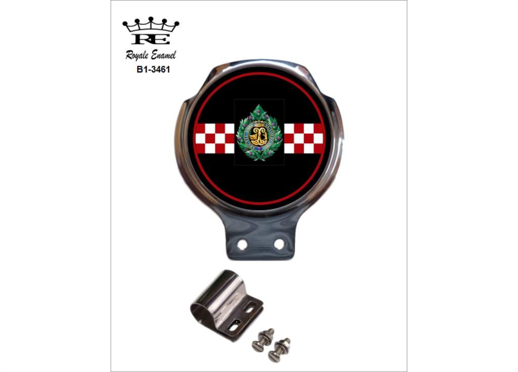 3461 ROYALE ENAMEL ROYALE CAR SCOOTER BAR BADGE ARGYLL /& SUTHERLAND HIGHLANDERS GLENGARRY B1