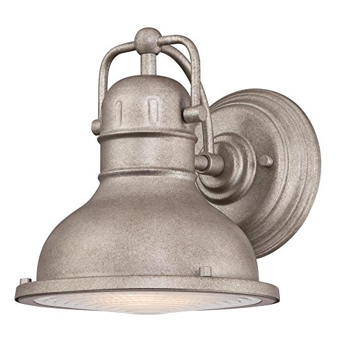 Westinghouse Lighting 6359900 Orson One-Light LED, Weathered Steel Finish with Clear Prismatic Lens Outdoor Wall Fixture, 9.5