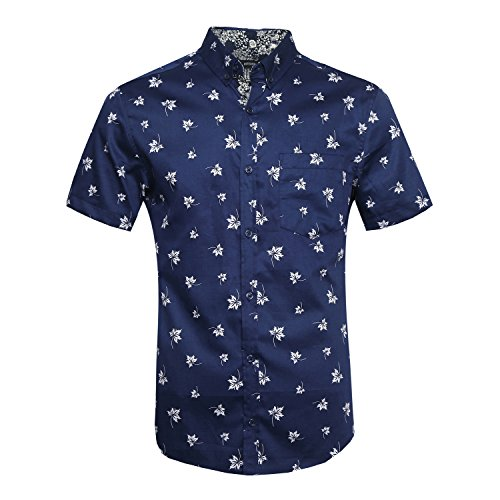 NUTEXROL Men's Leaves Prints Casual Short Sleeve Button Down Cotton Shirts Big & Tall Navy - Shops Square Bellevue