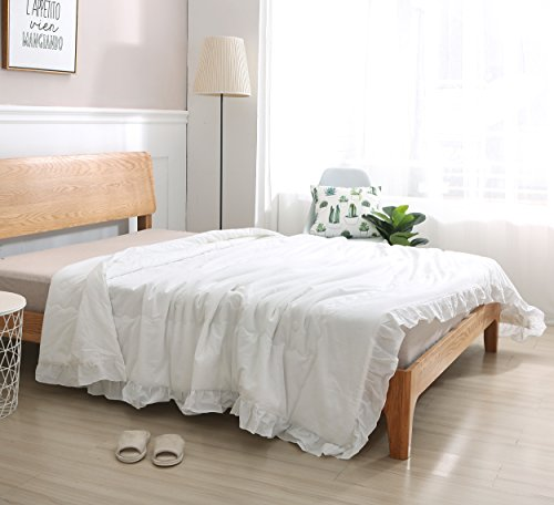 Meaning4 White Comforter Quilt Queen Size with Hem Ruffle Cotton Cover Polyester Filling