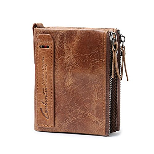 XUANOU Men Retro Purse Leather ID Credit Card Holder Clutch Bifold Coin Wallet