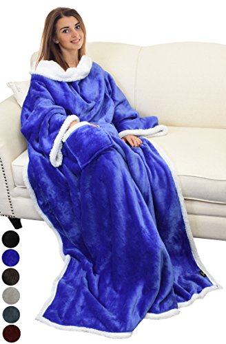 """Sherpa Fleece Wearable Blanket with Sleeves and Pocket, Micro Plush Warm Sleeved TV Throws Blanket Robe for Adult Women and Men Large 72""""X55"""" By (Sleeve Blanket)"""