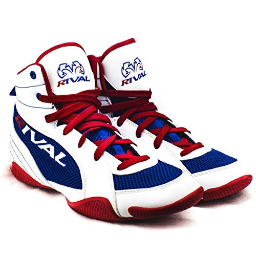RIVAL BOXING BOOTS-LOW TOPS WITH MESH (RED WHITE & BLUE, 6) (White Boot Tops)