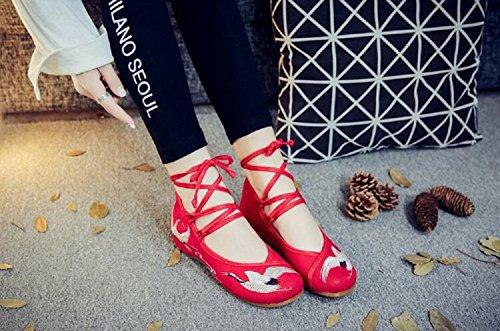 de Lazutom Chaussures Lacets à Pour Ville Femme red AA5Fnxqr