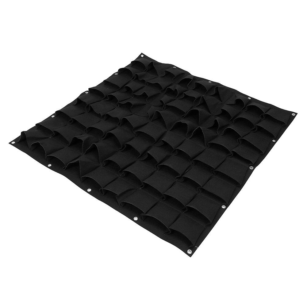 Yosoo 72 Pockets Planting Bags Wall Hanging Gardening Planter Outdoor Indoor Vertical Greening Grow Bags, Black