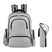 Kattee Baby Diaper Backpack, Large Unisex Nappy Bag with Changing Pad & Bottle Holder for Women& Men