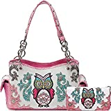 Cowgirl Trendy Western Concealed Carry Colourful Owl Spring Purse Handbag Shoulder Bag Wallet Set Fuchsia