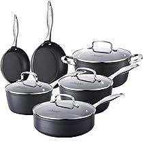 COOKSMARK 10-Piece Pots and Pans Set, Kingbox Hard-Anodized Aluminum Nonstick Dishwasher Safe Cookware Set with Glass Lid, Grey