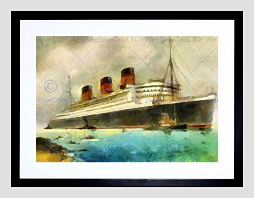 RMS QUEEN MARY LINER CRUISE SHIP WATERCOLOUR BLACK FRAMED ART PRINT (Queen Mary Ship Pictures)
