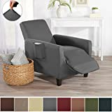 Home Fashion Designs Form Fit Stretch, Stylish Furniture Cover/Protector Featuring Lightweight Twill Fabric. Dawson Collection Basic Strapless Slipcover. By Brand. (Recliner, Grey)