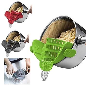 Watkings Kitchen Strain Strainer Clip On Silicone Colander Fits all Pots Bowls Kitchen Accessories