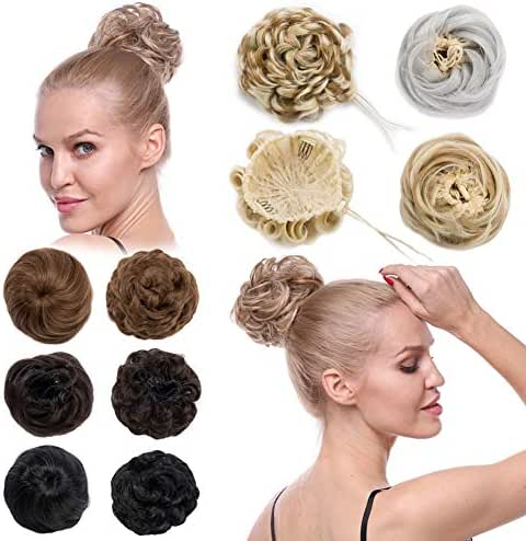 Scrunchy Updo Hair Extensions Straight Wavy Drawstring Hepburn Bun Big Chignon Clip Messy Donut Ponytail Topknot Hairpiece