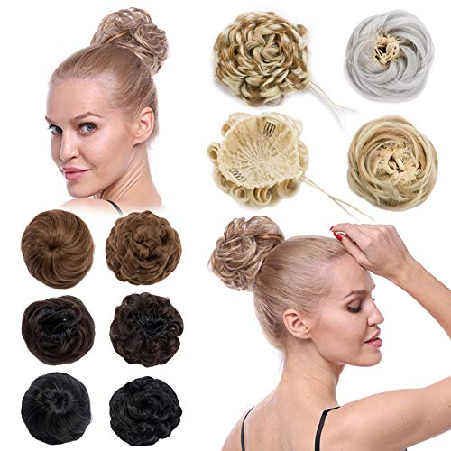 Scrunchy Updo Wavy Straight Hair Bun Drawstring Clip Claw Messy Donut Chignons Synthetic Hairpiece Hair Extension (sliver grey-straight) from Benehair