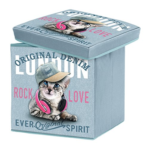 Douceur d 'Intrieur 1721799Girly Cat Storage Box Foldable Polyester Print 38x 38x 38cm