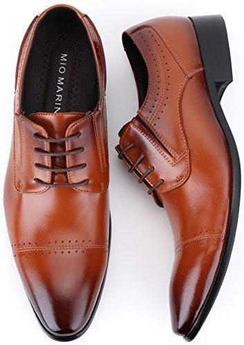 Mio Marino Mens Shoes, Oxford Dress Shoes, Genuine Leather in a Shoe Bag Umber - Cap Toe