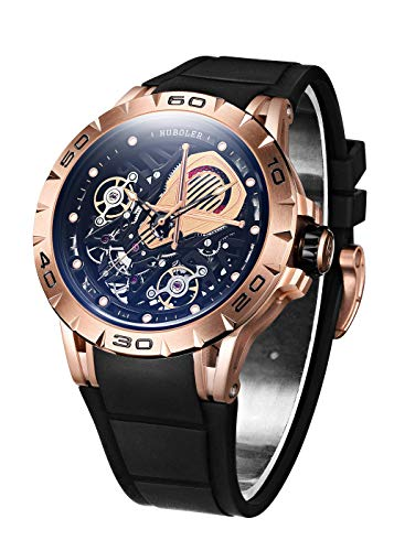 Huboler Skeleton Mechanical Men's Watch Tourbillon Automatic Movement Luminous (Rose ()