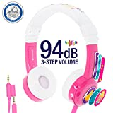 Cheap Kids Headphones by onanoff| Inflight Model Series with 3 Kids Safe Volume Limit Settings | Built in Headphone Splitter and In Line Mic | Perfect for Airplane Use | Pink