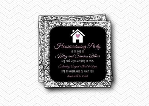 Announcements Housewarming Invitations - Housewarming Party Invitation. Damask Black Purple New Home Announcement. Square 5.25