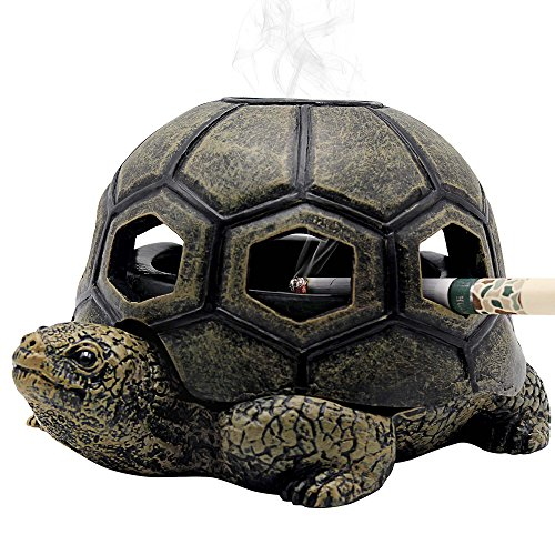 Rabbitroom Turtle Ashtrays for Cigarettes Ashtray with Lid, Creative Cigarettes Ash Tray, Cute Resin Ash Holder for Indoor Outdoor Home Office and Car (Turtle) (Patio Stone Covered)