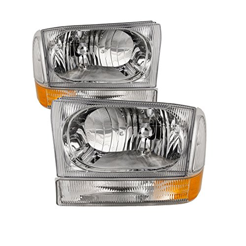- HEADLIGHTSDEPOT Chrome Halogen Headlights 4-Piece Set with Corners Clear Fluted Stock Style Compatible with Ford Excursion F-250 Super Duty F-350 F-450 F-550 Includes Left and Right Side Headlamps