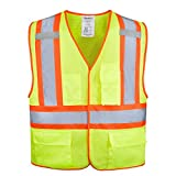 XSHIELD XS0100,High Visibility Safety Vest with Silver Stripe,ANSI/ISEA 107-2015 Type R Class2 Not FR (L, Yellow)