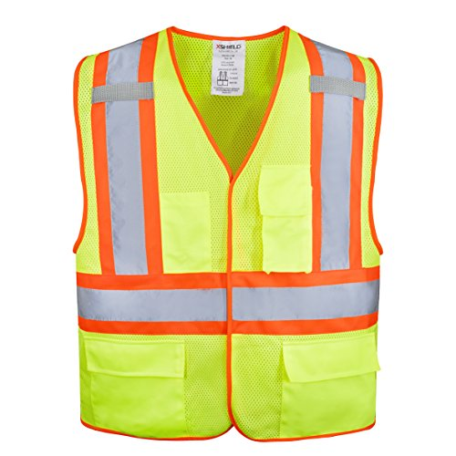 XSHIELD XS0100,High Visibility Safety Vest with Silver Stripe,ANSI/ISEA 107-2015 Type R Class2 Not FR (L, Yellow) ()