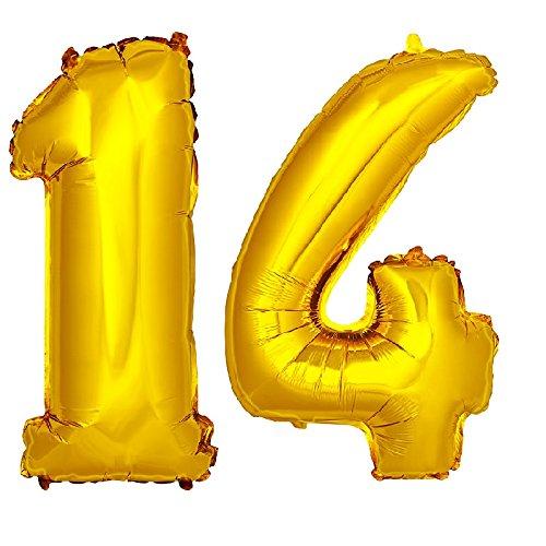 DekoRex® foil ballon anniversaire décoration pour l'air 40cm de haut or nombre: 14