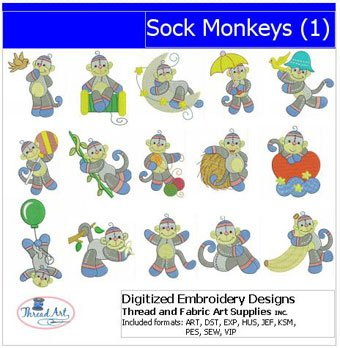 Embroidery Monkey Design Sock (Machine Embroidery Designs - Sock Monkeys(1))