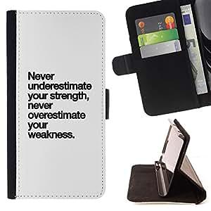 BullDog Case - FOR/Samsung Galaxy S3 III I9300 / - / strength weakness text inspiring never /- Monedero de cuero de la PU Llevar cubierta de la caja con el ID Credit Card Slots Flip funda de cuer