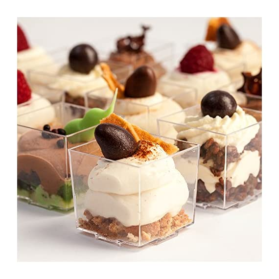 """Mini Plastic Dessert Cups 36 x 2 oz with 36 Spoons - Serving Glasses for Parfait Appetizer Trifle Mousse - Small Square Bowls - Shooter Cup - For Party Supplies - Disposable - Free Recipe Ebook 1 ✅ A COMPLETE SOLUTION TO MAKE YOUR PARTY A HIT - With this set, you will get everything you need to prepare fancy food for your party, plus the """"WOW-EFFECT"""" ON YOUR GUESTS; Also included is our Mini Cups EASY DESSERT RECIPES eBook with 20 superb easy-to-make no bake recipes you can use to impress your guests. ✅ SIMPLE, QUICK, CONVENIENT - use our simple no bake recipes to prepare your own culinary creations quickly; The tiny cups are very easy to fill and serve; The clean-up is easy; THE SPOONS are just the size they have to be and will really help you out at your event; You can also use the spoons as top decorations on your treats; REUSABLE - just wash and dry and use again or dispose - the plastic is 100% RECYCLABLE. ✅ PROFESSIONAL APPEARANCE AND STYLE - The mini cups are a perfect size for desserts, appetizers, tasters, treats or any other bite-sized food; With little effort, you will present your food professionally and with style; These cups are always a hit at the party and an easy way for you to make your guests go """"wow""""; Get ready for a shower of compliments!"""