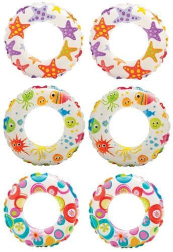 Intex Inflatable 20-Inch Lively Ocean Friends Print Kids Tube Swim Ring (6 Pack) ()