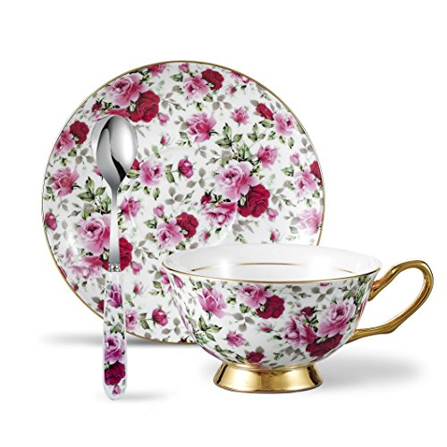 Panbado 3 Piece Bone China Tea Cup and Saucer Set with Spoon, 6.8 Ounce Porcelain Coffee Cup Set, Service for 1, Pink and Red Floral