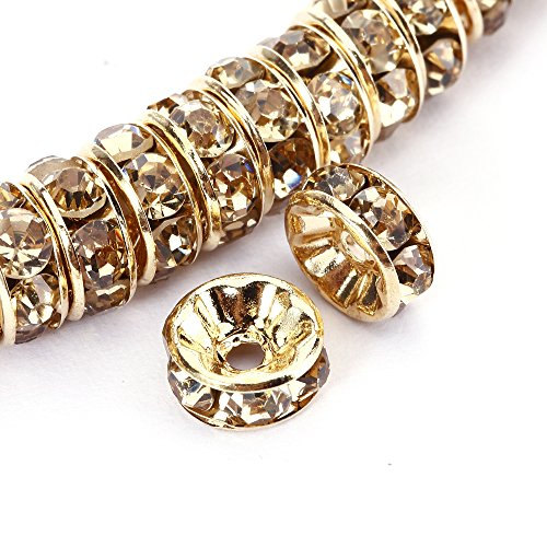 BRCbeads 10mm Gold Plated Crystal Rondelle Spacer Beads 100pcs per bag for jewelery making(#246 Light Colorado Topaz)