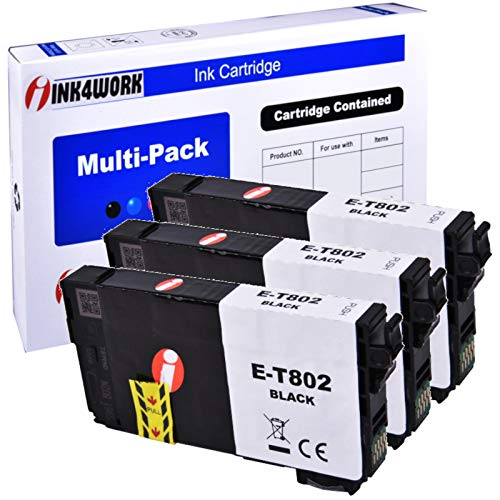 INK4WORK Remanufactured Black Ink Cartridge Replacement for Epson 802 T802120 T802 for Workforce Pro EC-4020 EC-4030 WF-4720 WF-4730 WF-4734 WF-4740 Printer (Bk, 3-Pack) -  T802-BBB