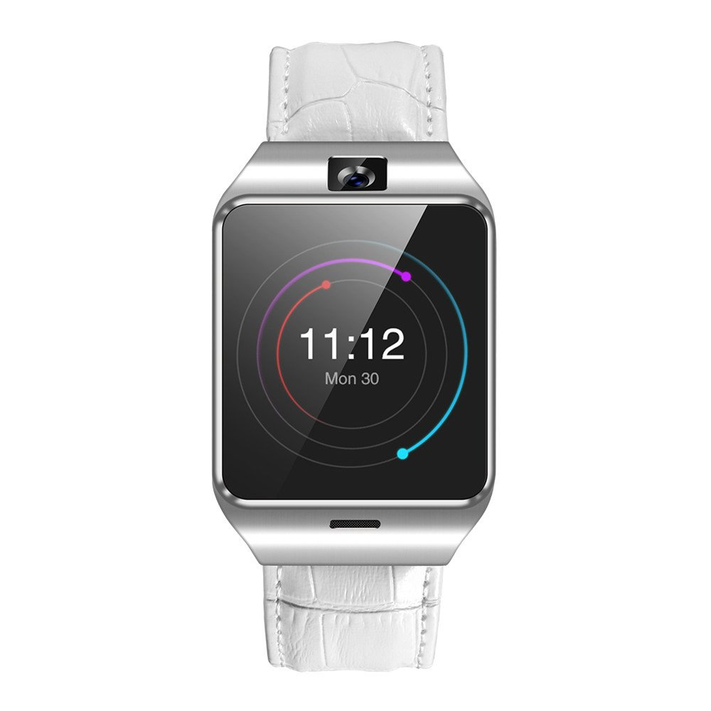 2018 BT4.0 Smart Watch ,3G wifi Phone Sports Watch with SIM Card TF Card Slot Remote Camera Control 4.4 MTK6572A Dual-core Processor Sport Sleep Monitoring For Android Smart Wristband (White)